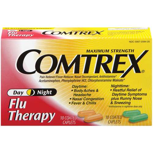 Comtrex: Day Night Maximum Strength Coated Caplets Flu Therapy, 20 Ct