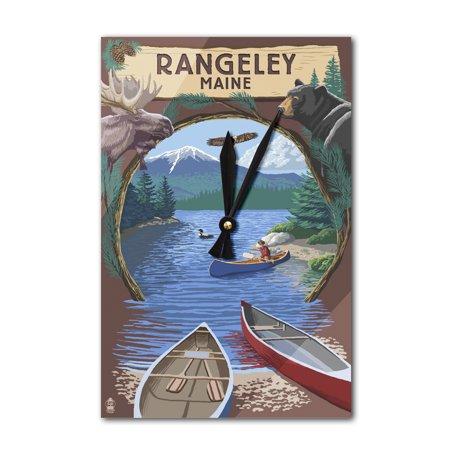 Rangeley, Maine - Adirondacks Canoe Scene - Lantern Press Artwork (Acrylic Wall Clock)