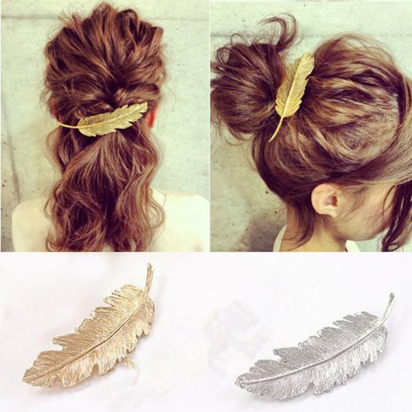 Leaf / Feather Shaped Hair Clip Pin Claw Hair Accessories (Golden+Silver), 2pcs Pack