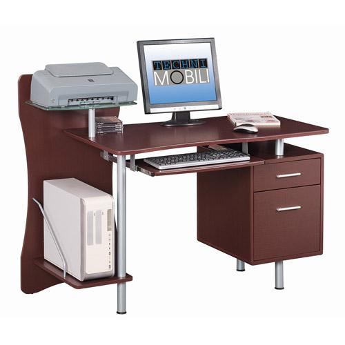 Techni Mobili Computer Desk with Storage, Chocolate