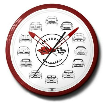 Corvette Cars Flags Genuine Vette Emblem Neon Wall Clock