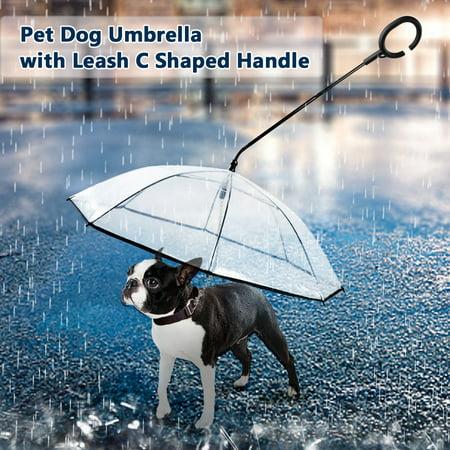 Pet Dog Umbrella with Leash C Shaped Retractable Steering Handle Transparent Umbrella for Walk Dog Protect Pets in Rainy Day - image 1 de 7