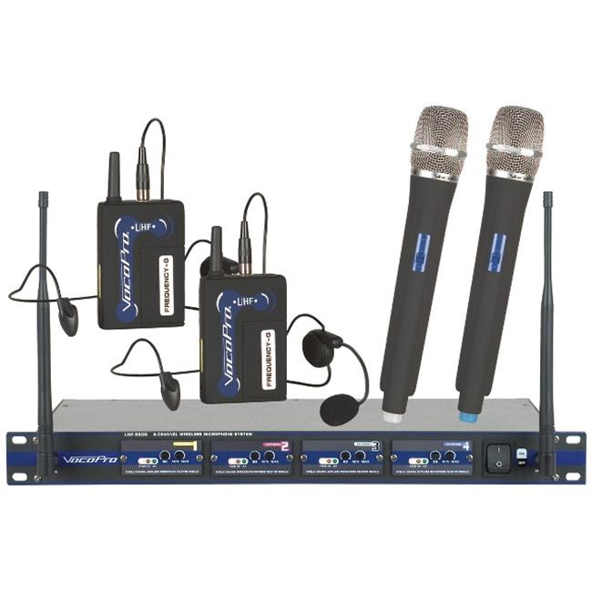 Vocopro UHF5800HB8 Professional 4 Channel UHF Wireless Microphone System Frequency - U  V  W  X