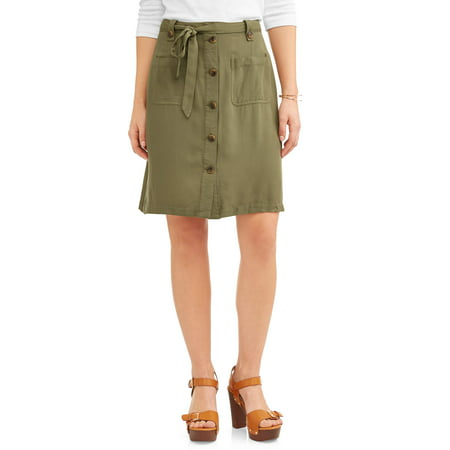 Women's Long A-Line Button Front Skirt with Pockets