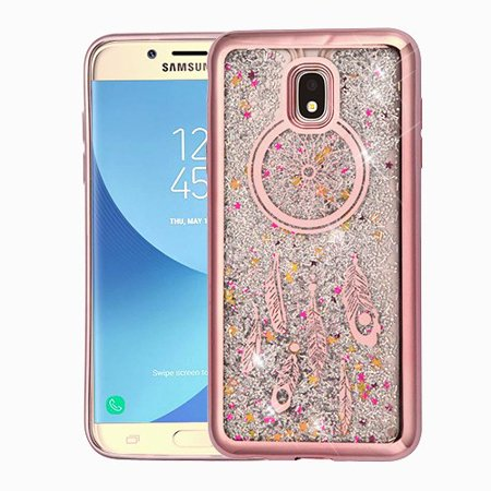 Samsung Galaxy J7 (2018), J737, J7 V 2nd Gen, J7 Refine - Phone Case BLING  Hybrid Liquid Glitter Quicksand Electroplating Rubber Silicone Gel TPU