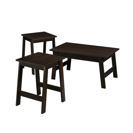 Mainstays Pilson 3 Piece Coffee Table And End Table Set Espresso Finish Walmart Com Walmart Com
