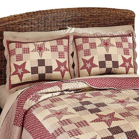Country Star Checkered Floral Patchwork Quilted Pillow Sham  Burgundy