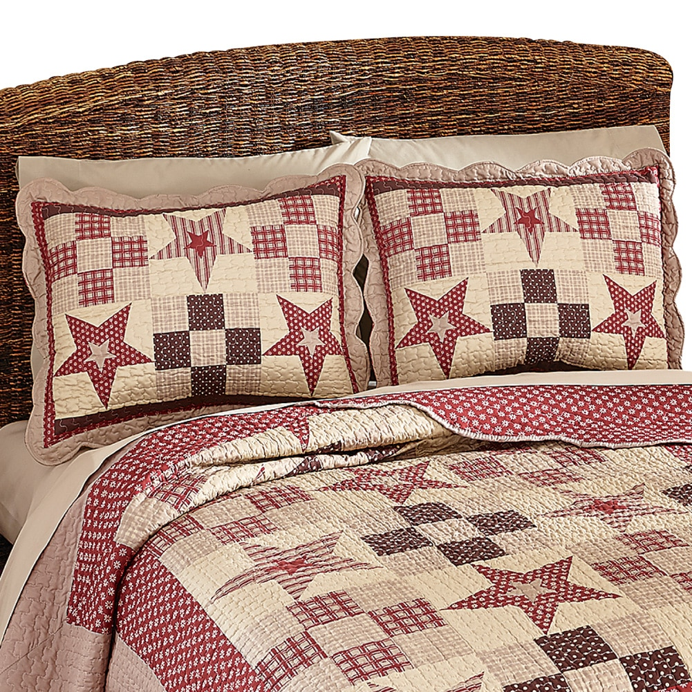 Country Star Checkered Floral Patchwork Quilted Pillow Sham (35564), Burgundy
