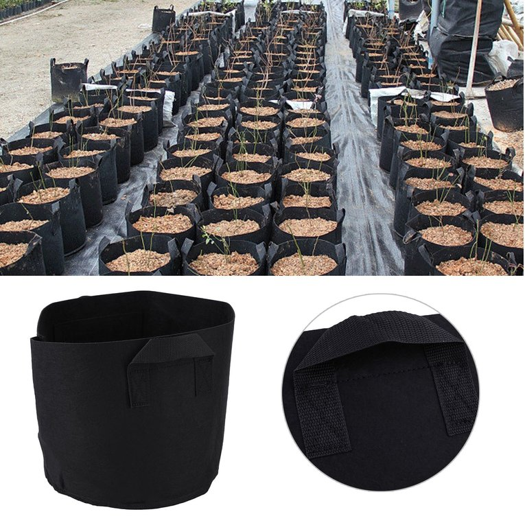 Black 10Pcs Non-Woven Fabric Smart Plant Indoor Outdoor Grow Prune Pot Bag 5 Gallon