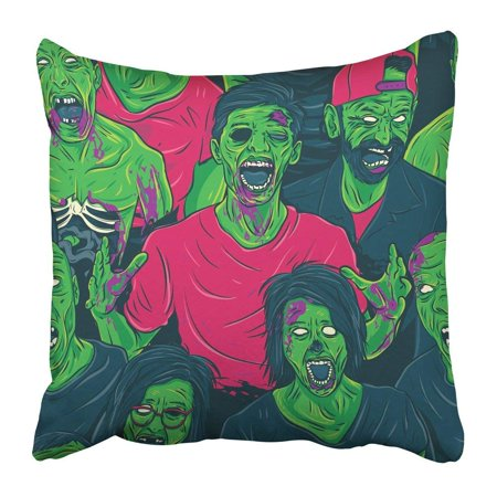 ARTJIA Colorful Halloween Zombie Walking Out Fun Retro Group Face Scary Monster Angry Pillowcase Pillow Cover 16x16
