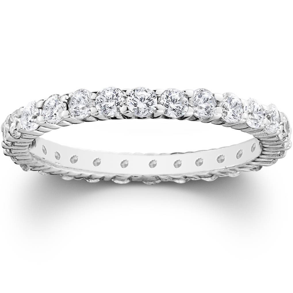 1.00CT Round Natural Diamond Eternity Wedding Ring 14K White Gold Womens Band