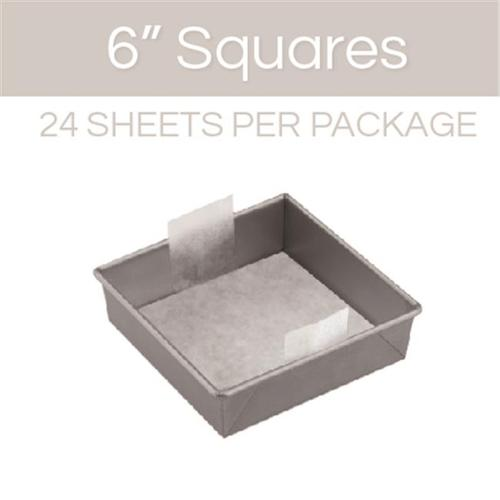 The Smart Baker Square Cake Pan Pre-Cut Parchment, 6 inch - Pack of 24