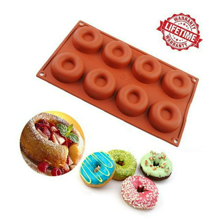 iClover 8 Cavity Silicone Donut Baking Cake Ring Chocolate Soap Candy Jelly Ice Biscuit Mold Mould Pan- High Quality food Grade Silicone Bakeware Baking Pan Birthday Party Valentine's Day