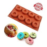 iClover 8 Cavity Silicone Donut Baking Cake Ring Chocolate Soap Candy Jelly Ice Biscuit Mold Mould Pan- High Quality food Grade Silicone Bakeware Baking Pan Birthday Party Valentine's Day Gift