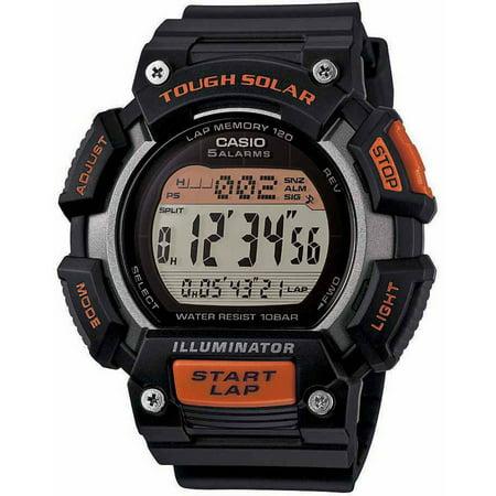 Men's Extra-Large Solar Runner Watch, Black/Orange ()