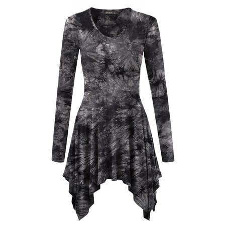 MBJ WT1145 Womens Tie-Dye V neck Long Sleeve Pleats Tunic Top L BLACK