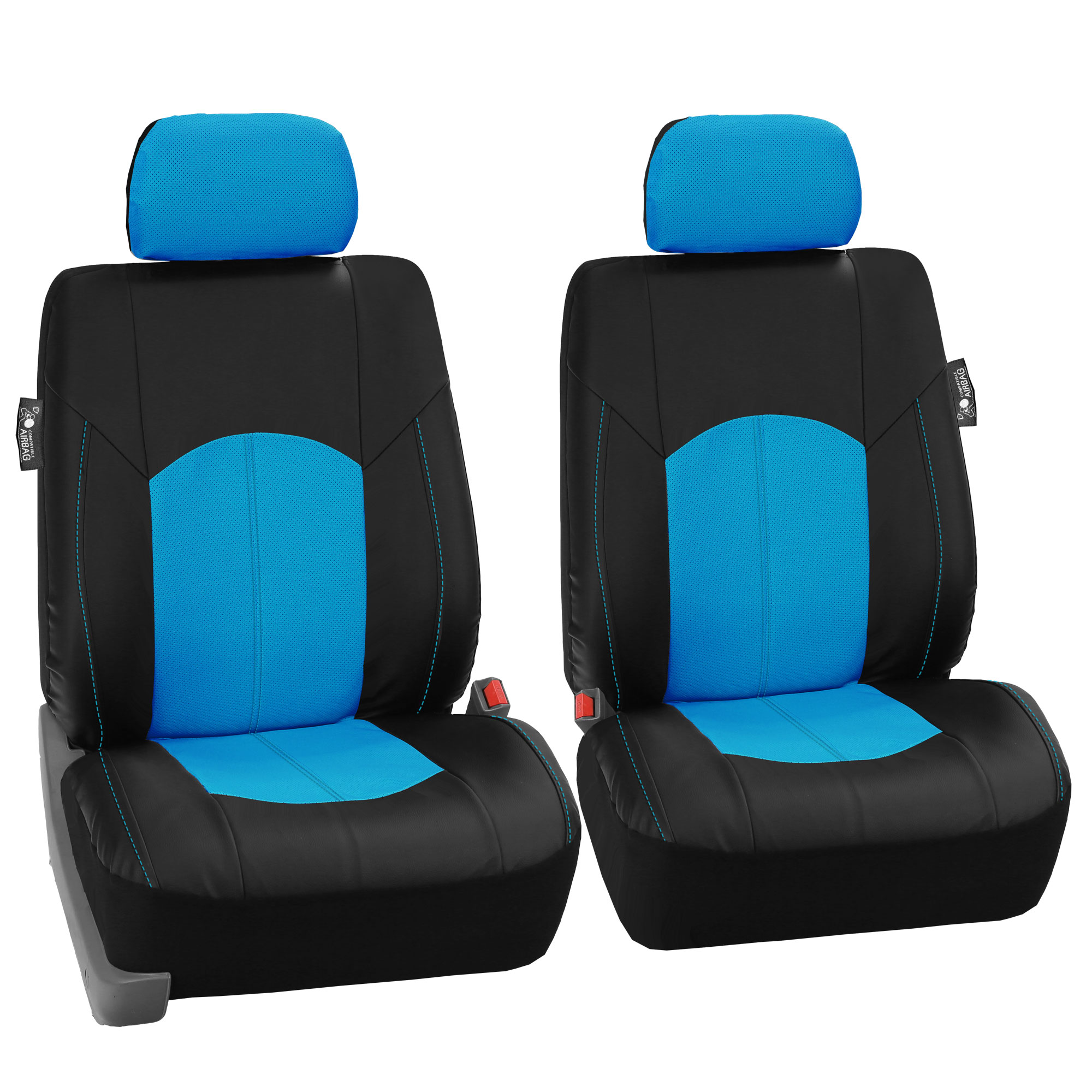 FH Group, Perforated Leather Front Bucket Seat Covers for Auto Car Sedan SUV Van, Two Front Bucket Seat Covers, 8 Colors
