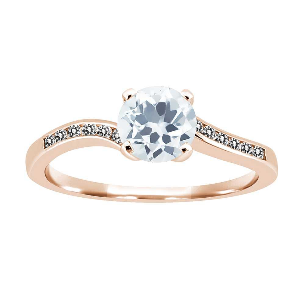 0.89 Ct Round Sky Blue Aquamarine White Diamond 14K Rose Gold Ring