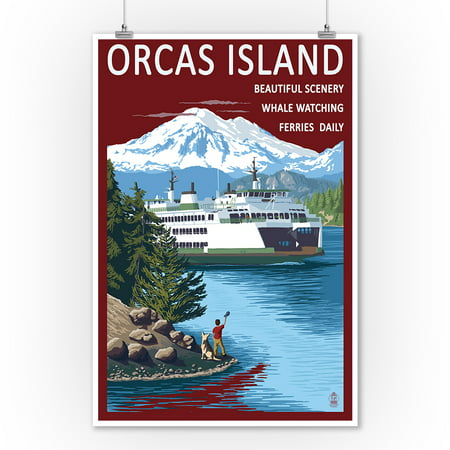 Orcas Island, Washington - Ferry Scene- Lantern Press Artwork (9x12 Art Print, Wall Decor Travel
