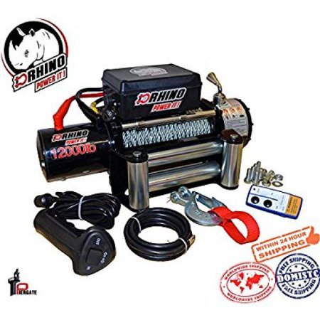 D-Rhino Vehicle Recover Electric Winch Kit 12000 lb Load Capacity Remote 12V ATV Towing Trailer Truck SUV Heavy