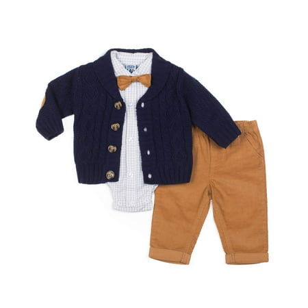 84981083c Little Lad - Little Lad Cable Knit Cardigan Sweater, Woven Bodysuit or Top,  Pants & Bowtie, 4pc Outfit Set (Baby Boys) - Walmart.com