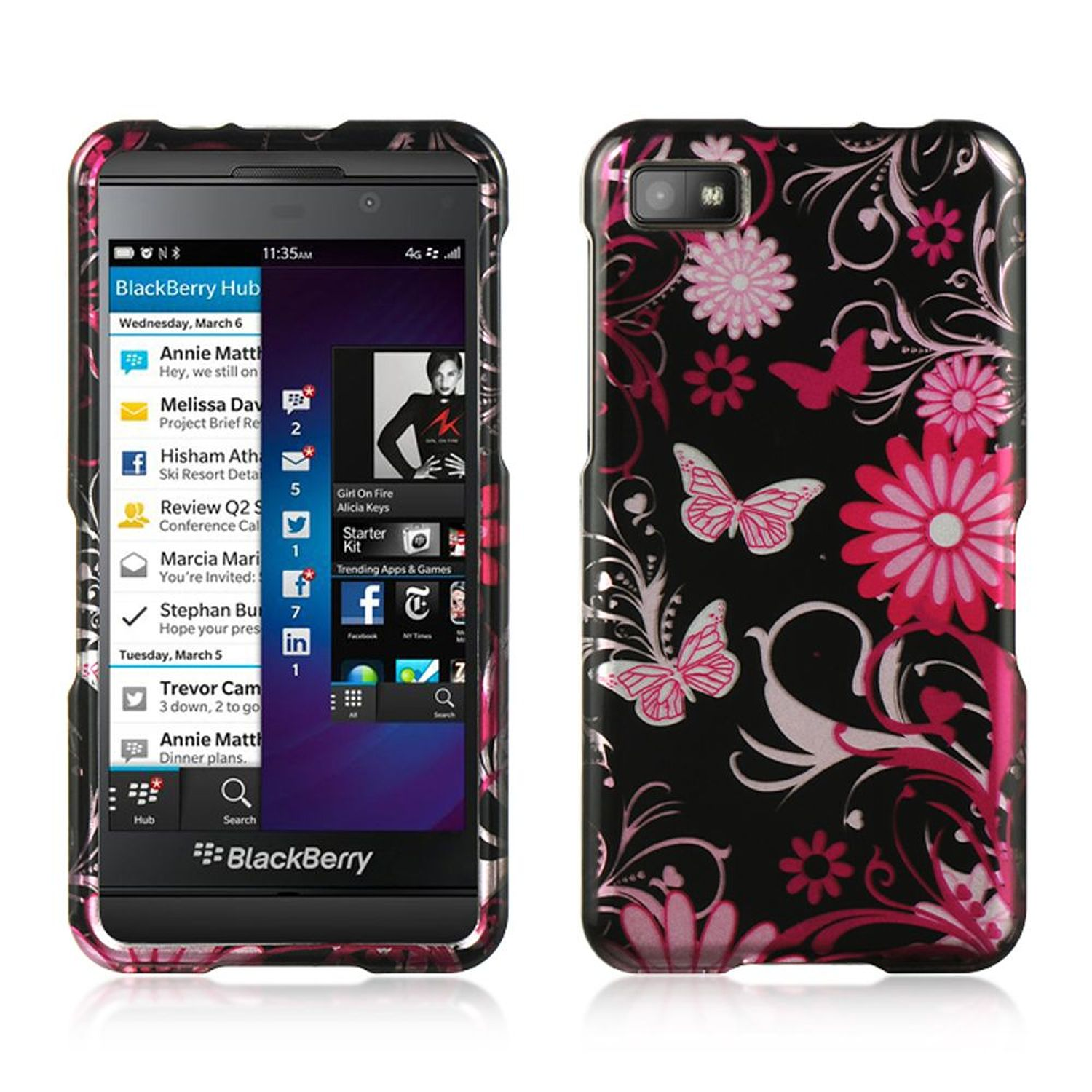 Insten Hard Rubberized Case For BlackBerry Z10 - Black/Pink