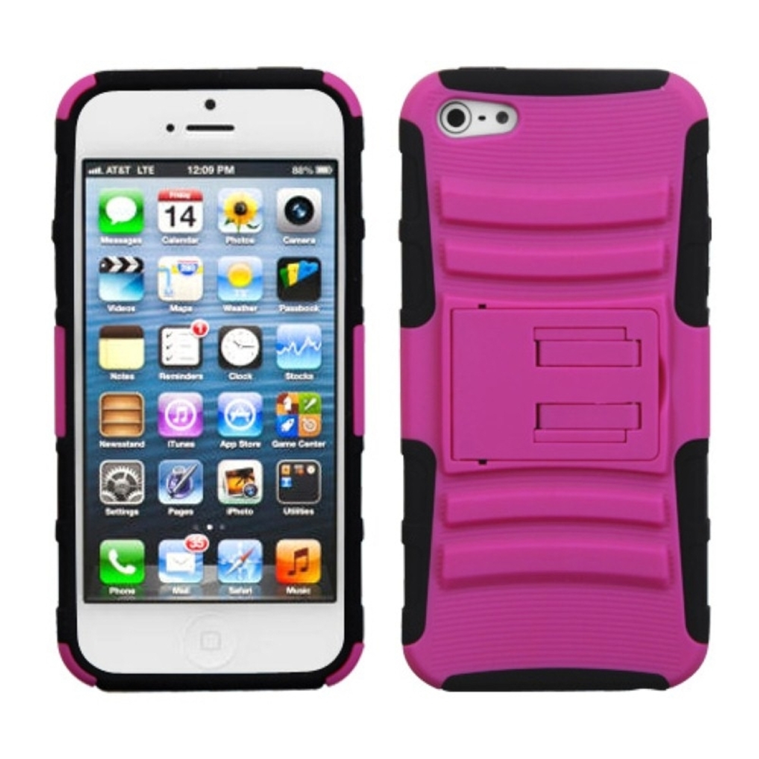 Insten Hot Pink/Black Advanced Armor Stand Case for Apple iPhone SE / 5S / 5