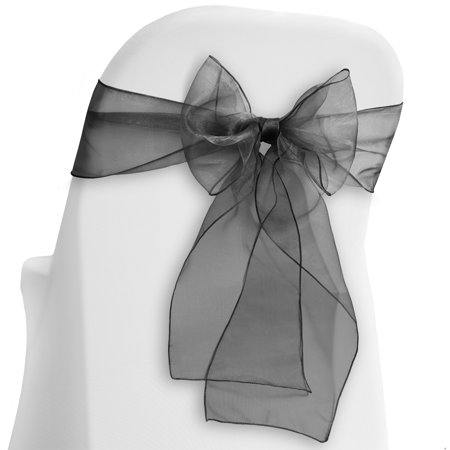 Organza Wedding Sashes - Lann's Linens - 100 Organza Chair Cover Bow Sashes - for Wedding or Party Use - Multiple Colors Available