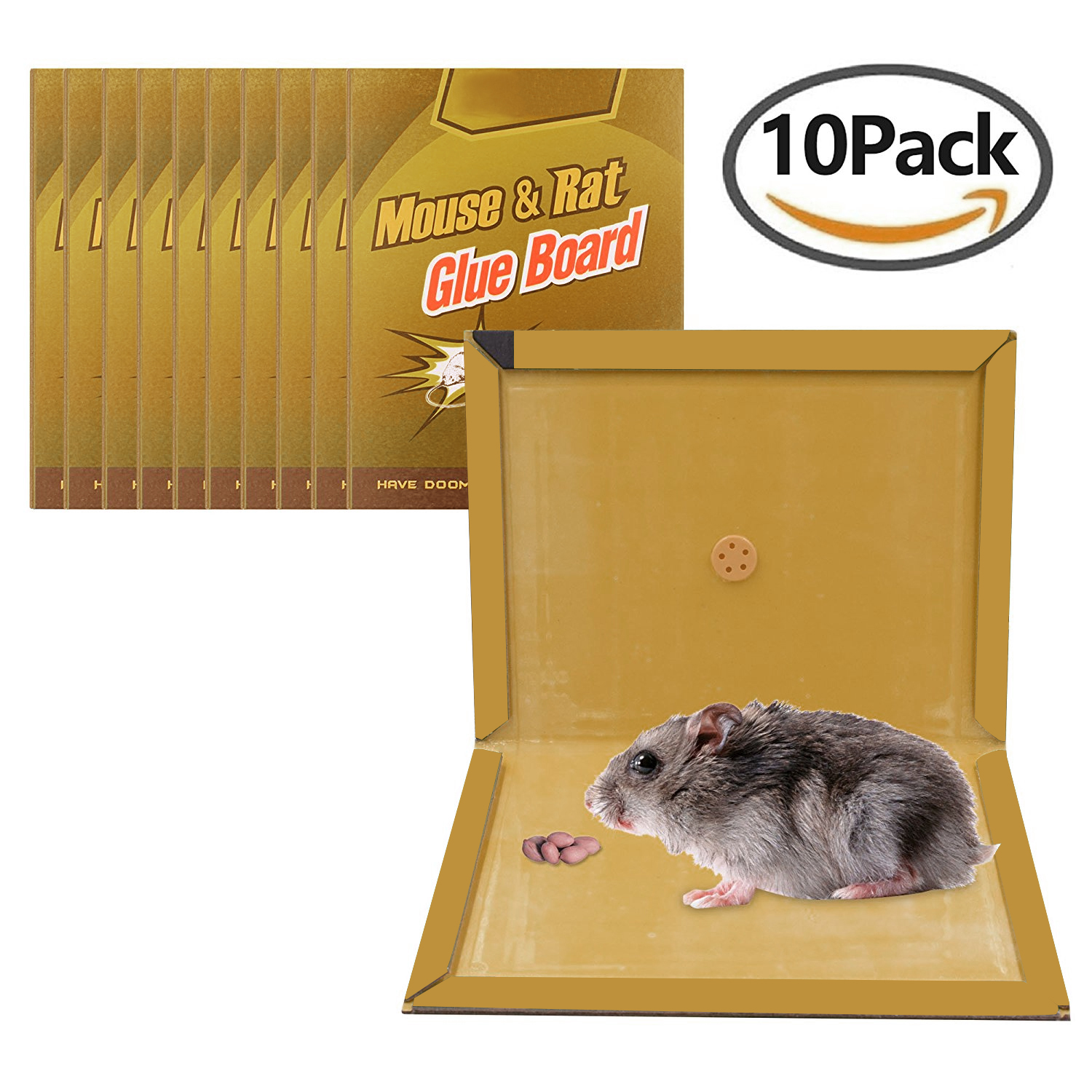 Large Size Peanut Butter Scented Mouse Glue Trap, Sticky Super Hold Glue Board Traps for Mice Rats Rodents Cockroaches Bugs Ants Spiders Scorpions 10 PACK