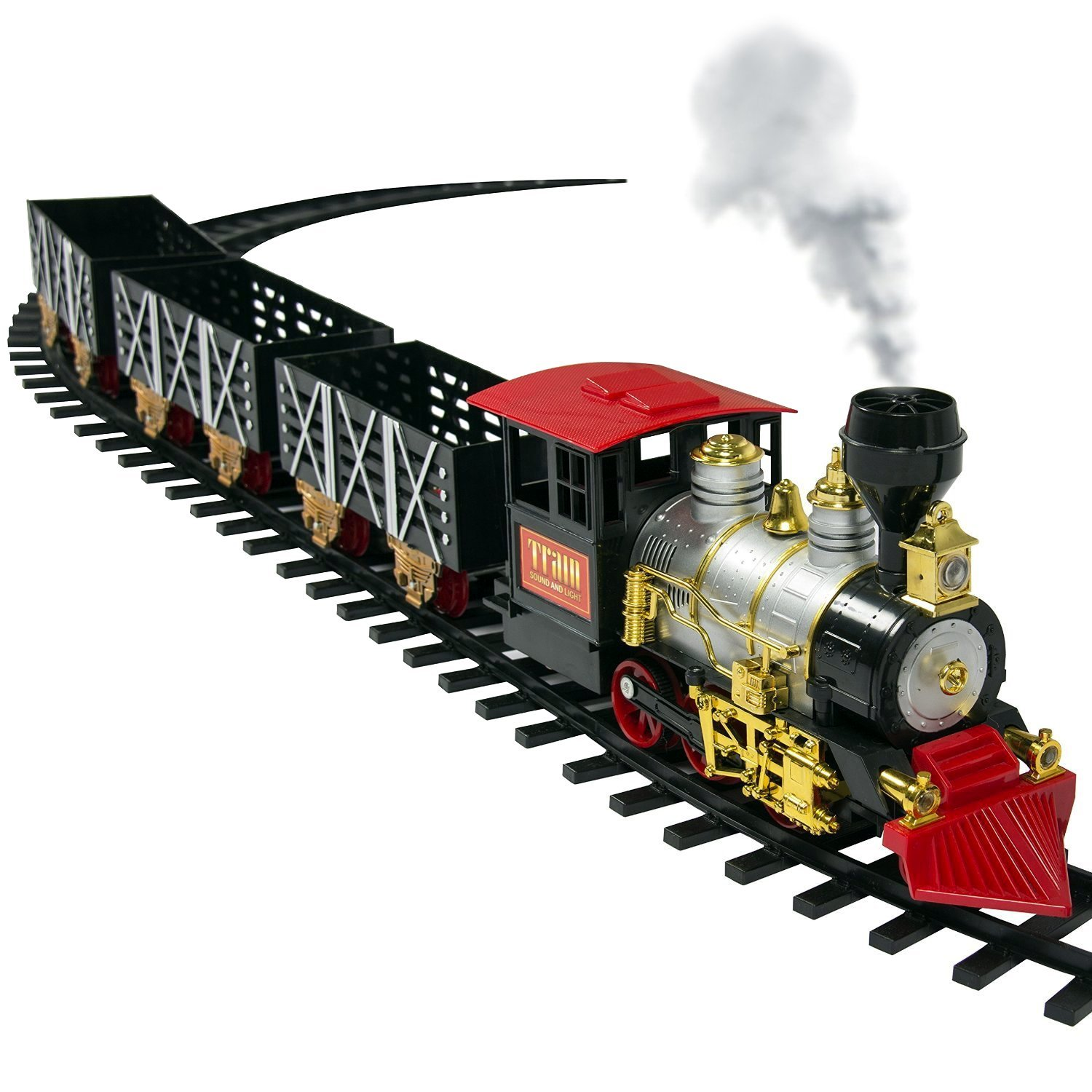 VT Classic Train Set For Kids With Real Smoke, Music, and Lights Battery Operated Railway Car Set