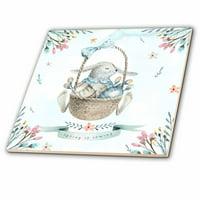 3dRose Cute Floral Easter Bunny Basket Illustration - Spring Is Coming - Ceramic Tile, 4-inch