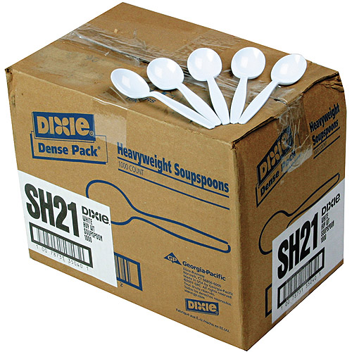 Dixie Plastic Cutlery Heavyweight Soup Spoons, 1000-Pack, White