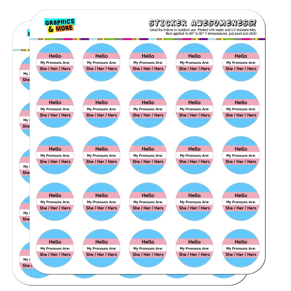 "My Pronouns Are She Her Hers Gender Identity 1"" Planner Calendar Scrapbooking Crafting Opaque Stickers"