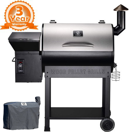 Wood Pellet Grill U0026 Smoker With Patio Cover,700 Cooking Area 7 In 1