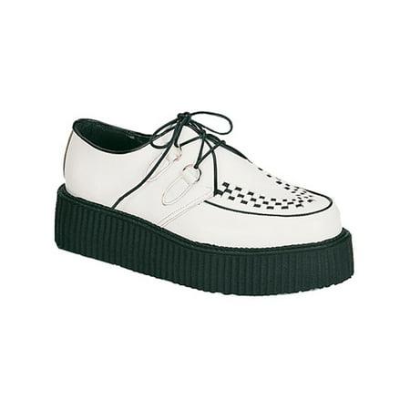 Mens Creeper Shoes Gothic Retro Rock Platform Shoes White Leather MENS SIZING