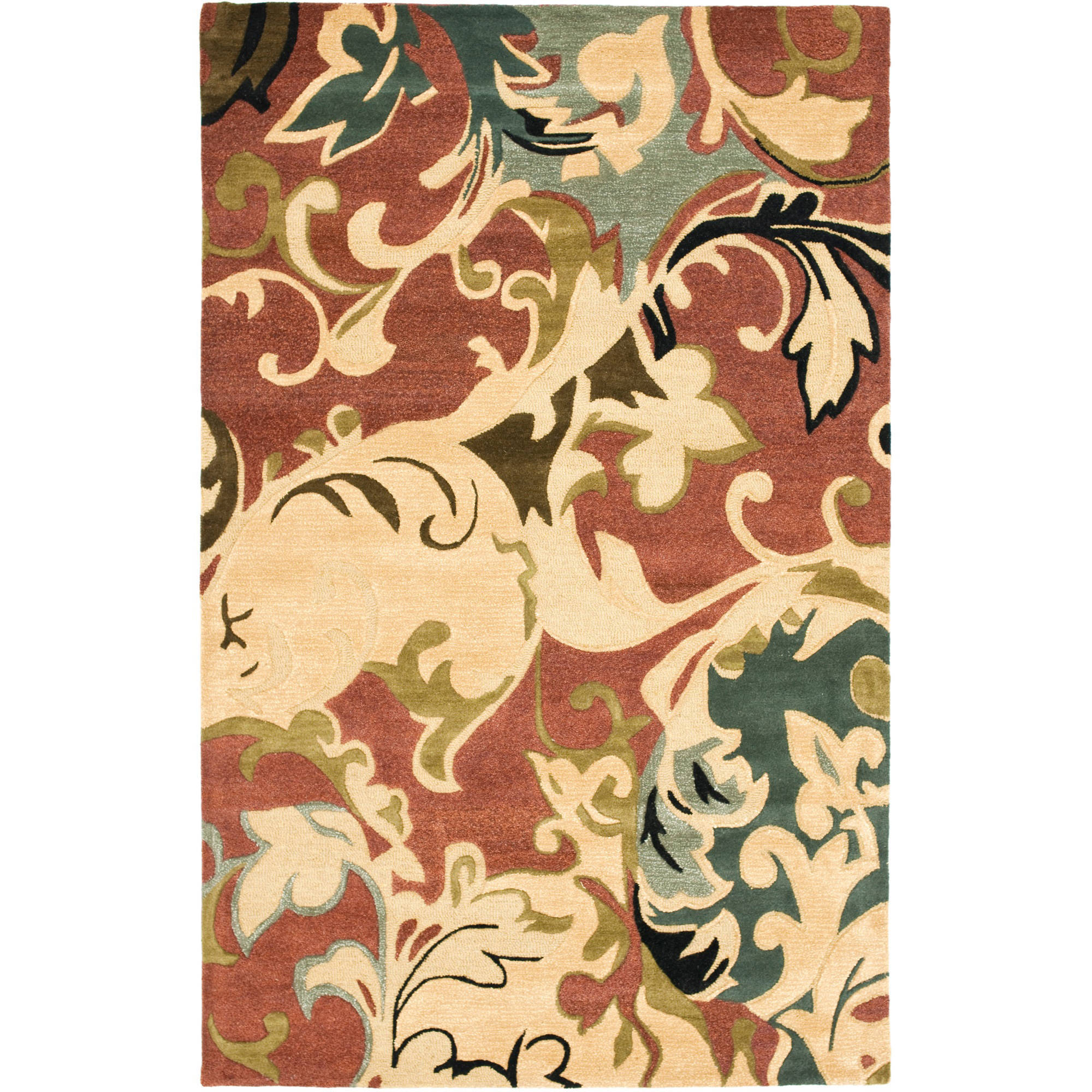 Safavieh Soho Brighton Wool Area Rug, Rust/Multi-Color