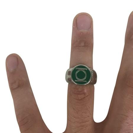 Green Lantern Logo Power Ring Metal Silver Costume Cosplay Movie Super Hero Gift