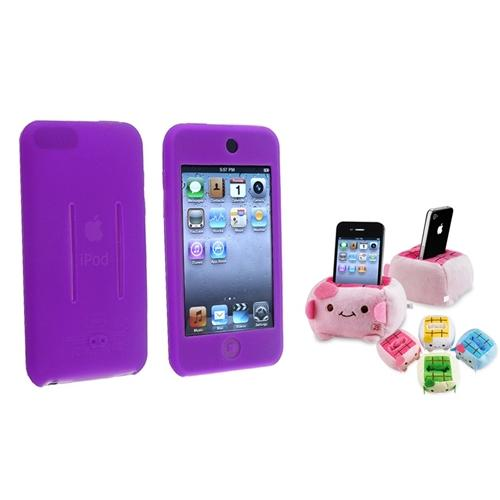 Insten Purple Silicone Cover Case+Cartoon Plush Holder For Apple iPod Touch 2ND 3ND 1 2 3