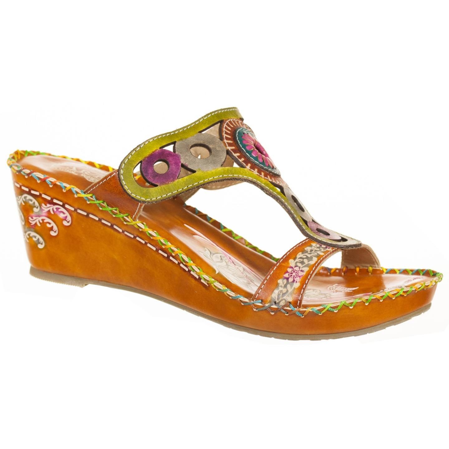 L'Artiste Collection By Spring Step Women's Aztec Sandal Camel Multi EU 37 US 7 by Spring Step