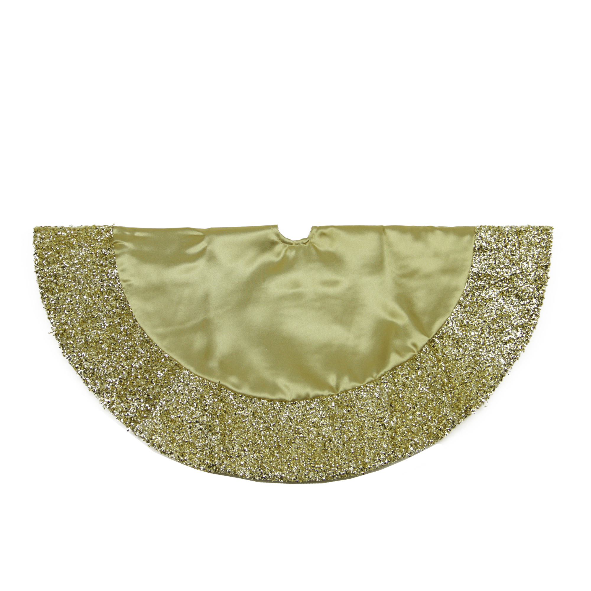 20 Gold Satin Mini Christmas Tree Skirt with Metallic Trim