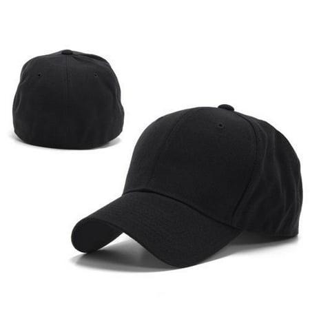 Black Fitted Curved Bill Plain Solid Blank Cap Hats - Hat   Cap  6 3 4 -  Walmart.com 354e6fd6181