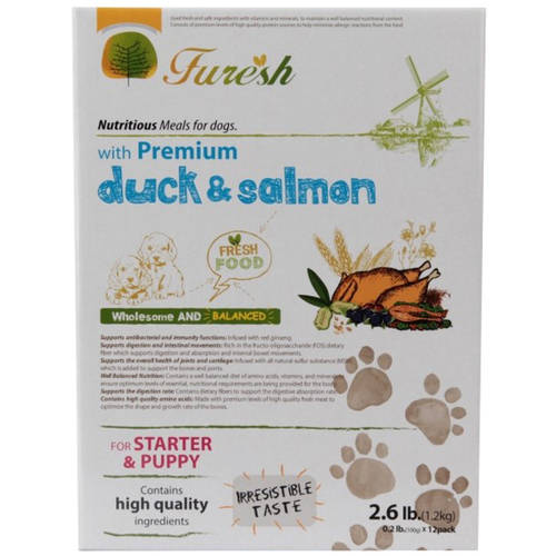Furesh Dry Dog Food with Premium Duck & Salmon, 2.6 lbs (Starer & Puppy)