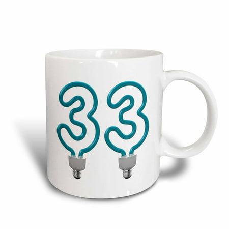 3dRose Number Thirty Three as an energy saving, colored light bulb, Ceramic Mug, 11-ounce