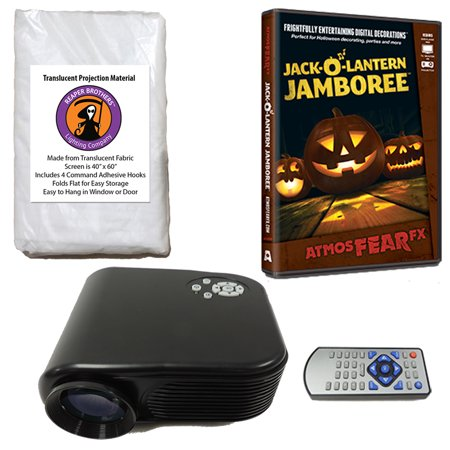 Halloween Digital Decoration Kit includes 800 x 480 Resolution Projector, Reaper Brothers High Resolution Window Rear Projection Screen and AtmosFearFX Jack O Lantern Jamboree DVD