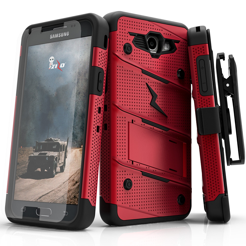 Zizo Bolt Series Compatible With Samsung Galaxy J7 Prime Case Military Grade Drop Tested With Tempered Glass Screen Protector Holster Red Black Walmart Com Walmart Com