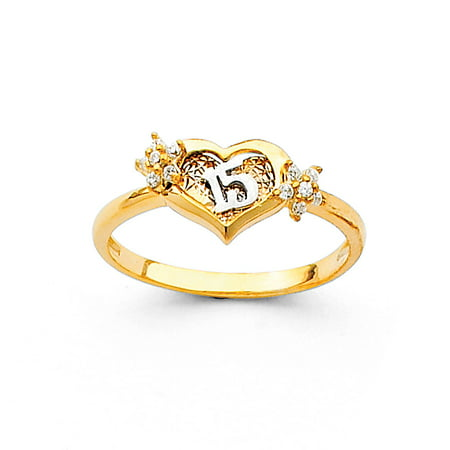 Heart 15 Quince Ring Solid 14k Yellow Gold Quinceanera Band CZ Flowers Love Diamond Cut Fancy