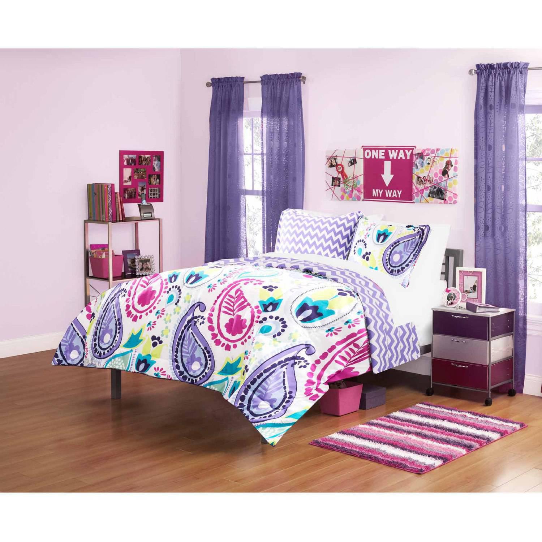 your zone boho paisley bedding comforter set, purple