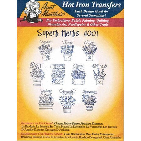 Superb Herbs Aunt Martha's Hot Iron Embroidery Transfer ()
