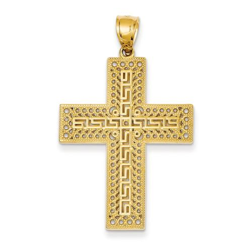 14k Yellow Gold Greek Key Filigree Cross Pendant