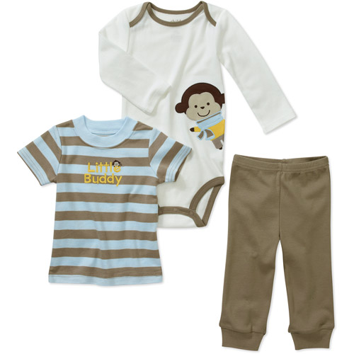 Child of Mine by Carters Newborn Boys' 3 Piece Monkey Tee's and Pant Set